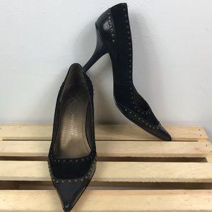 Nine West black mix material bronze studded heels